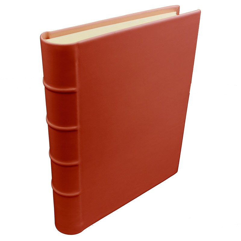 Coral leather photo album - Conti Borbone - pink calskin - Standard - spine
