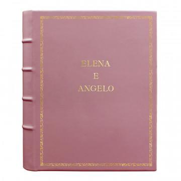 Album foto pelle Camelia - Conti Borbone - Pelle di vitello rosa - Standard - 27 - stampatello