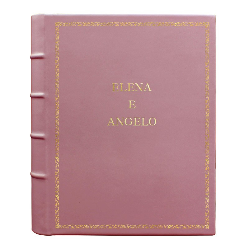 Camelia leather photo album - Conti Borbone - pink calskin - Standard - 27 - block letters