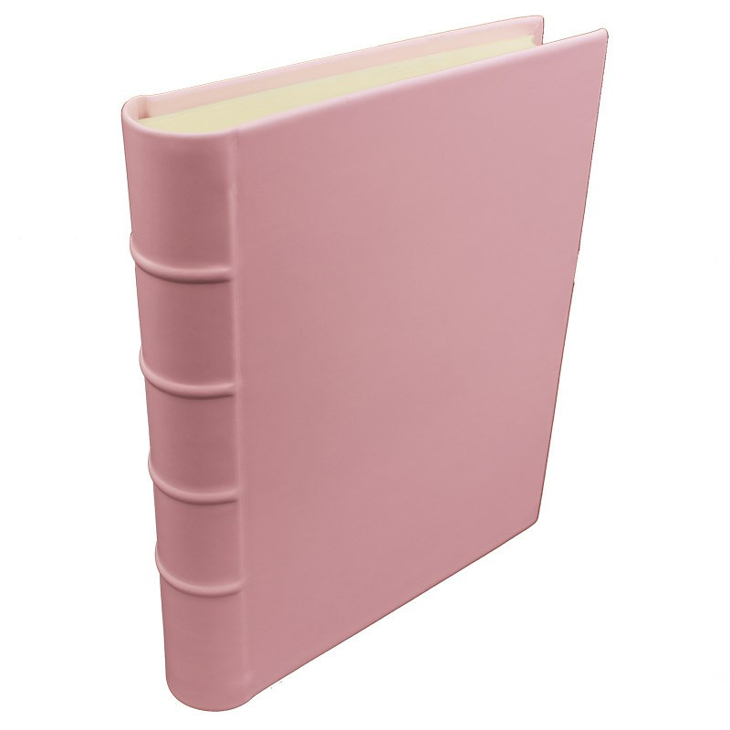 Camelia leather photo album - Conti Borbone - pink calskin - Standard - spine