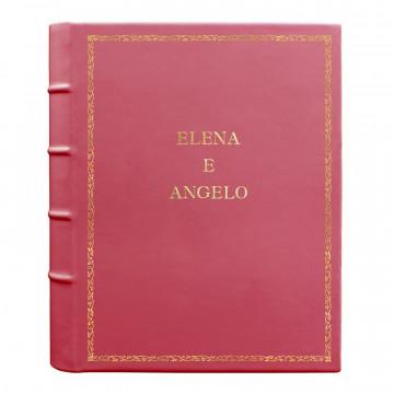 Album foto pelle Fuxia - Conti Borbone - Pelle di vitello rosa - Standard - 27 - stampatello