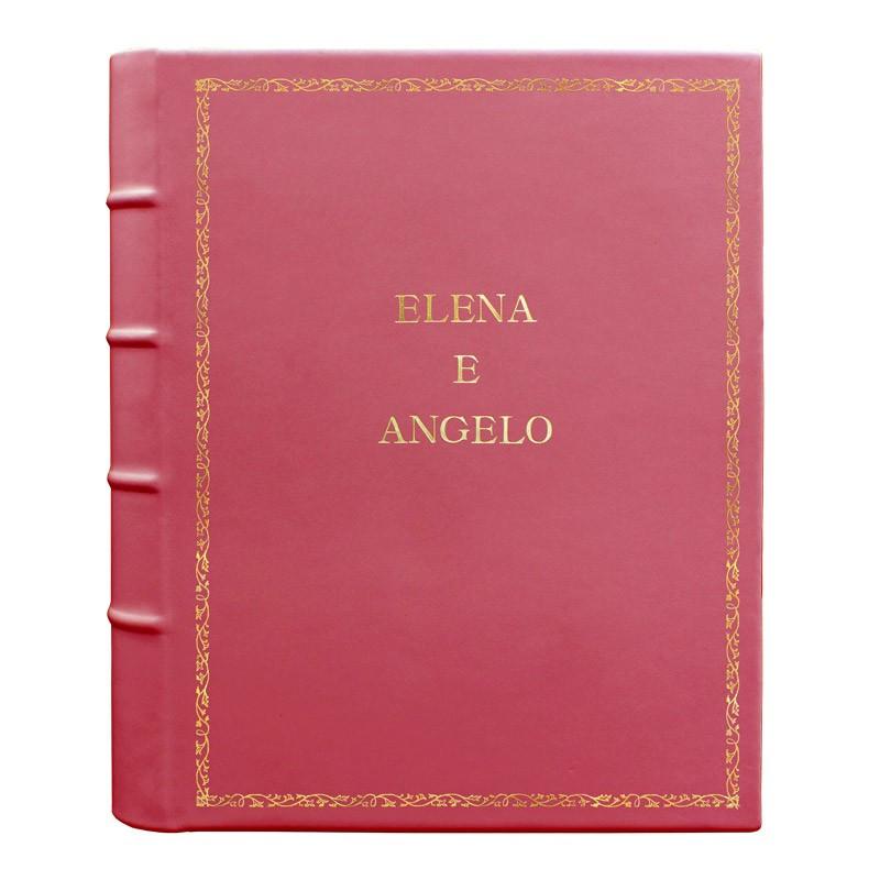 Fuchsia leather photo album - Conti Borbone - pink calskin - Standard - 27 - block letters
