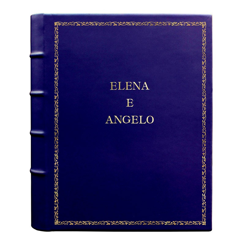 Album foto pelle Bluette - Conti Borbone - Pelle di vitello blu - Standard - 27 - stampatello