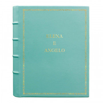 Turquoise leather photo album - Conti Borbone - light blue calskin - Standard - 27 - block letters