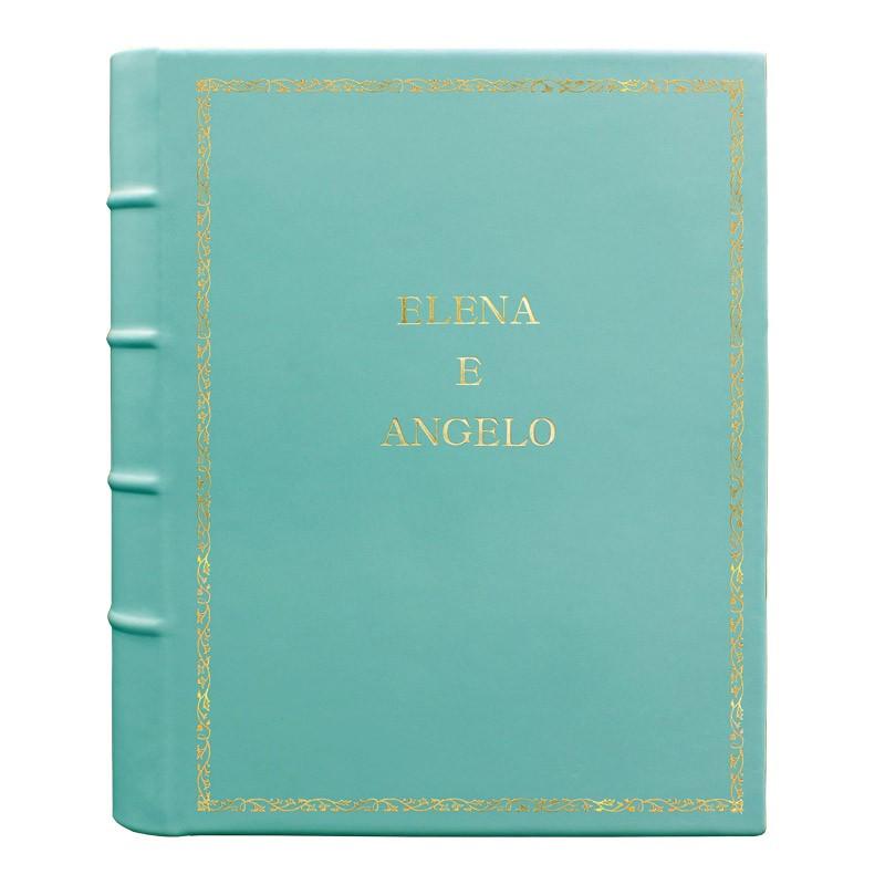 Turquoise leather photo album - Conti Borbone - light blue calskin - Standard - 27 - block letters
