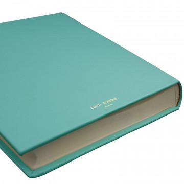 Turquoise leather photo album - Conti Borbone - light blue calskin - brand