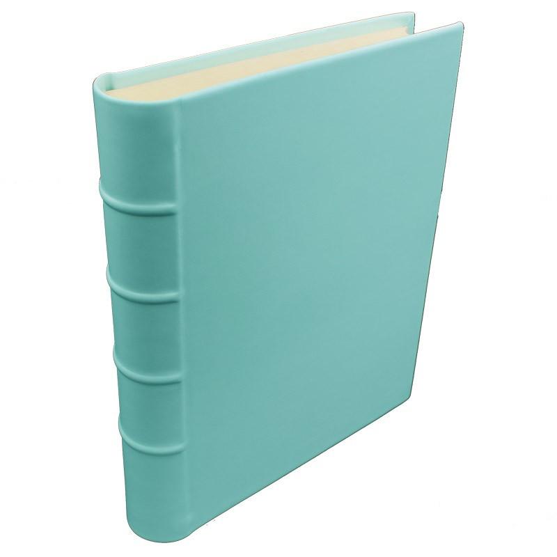 Turquoise leather photo album - Conti Borbone - light blue calskin - Standard - spine