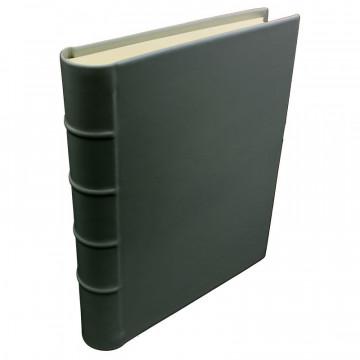 Anthracite leather photo album - Conti Borbone - dark gray calskin - Standard - spine