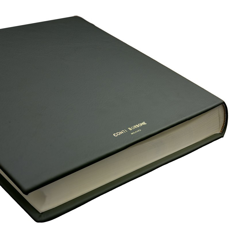 Graphite leather photo album - Conti Borbone - gray calskin - block letters