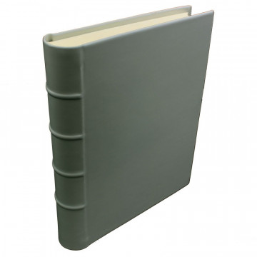 Graphite leather photo album - Conti Borbone - gray calskin - Standard - spine