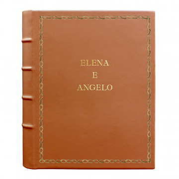 Pumpkin leather photo album - Conti Borbone - orange calskin - Standard - 27 - block letters