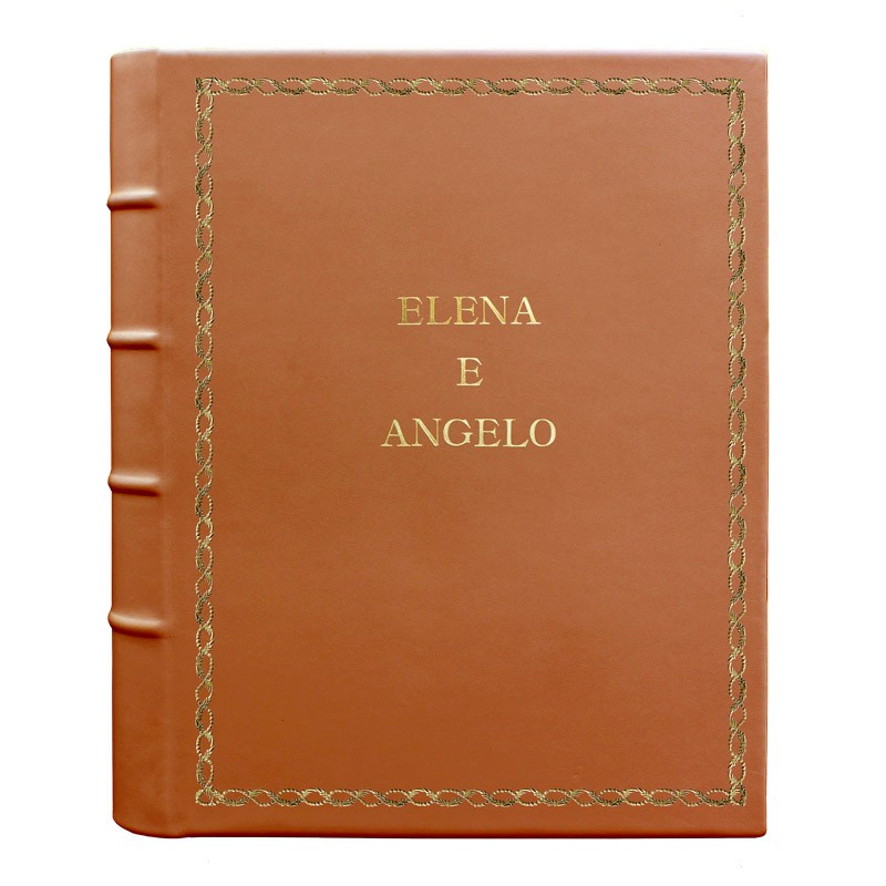 Album foto pelle Zucca - Conti Borbone - Pelle di vitello arancione - Standard - 27 - stampatello