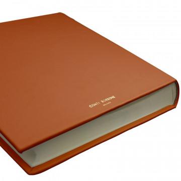 Pumpkin leather photo album - Conti Borbone - orange calskin - brand
