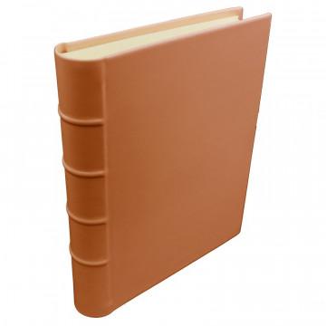 Pumpkin leather photo album - Conti Borbone - orange calskin - Standard - spine