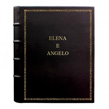 Dark leather photo album - Conti Borbone - black calskin - Standard - 27 - block letters