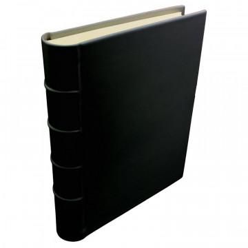 Dark leather photo album - Conti Borbone - black calskin - Standard - spine