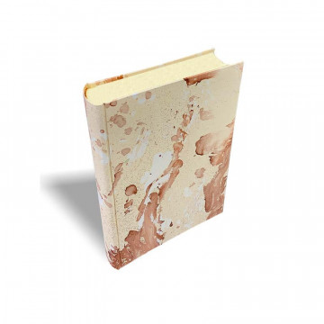 Photo album Matteo in marbled paper brown and beige - Conti Borbone - standard - profile