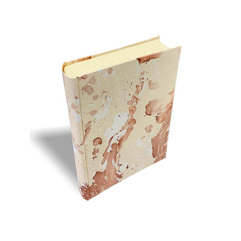 Photo album Matteo in marbled paper brown and beige - Conti Borbone - standard - profile