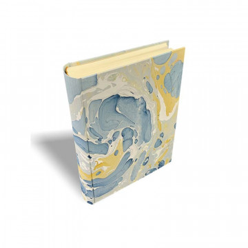 Photo album Salvo in marbled paper blue and mustard - Conti Borbone - standard - spine