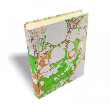 Photo album Maya in marbled paper brown, green, white and gray - Conti Borbone - standard - spine