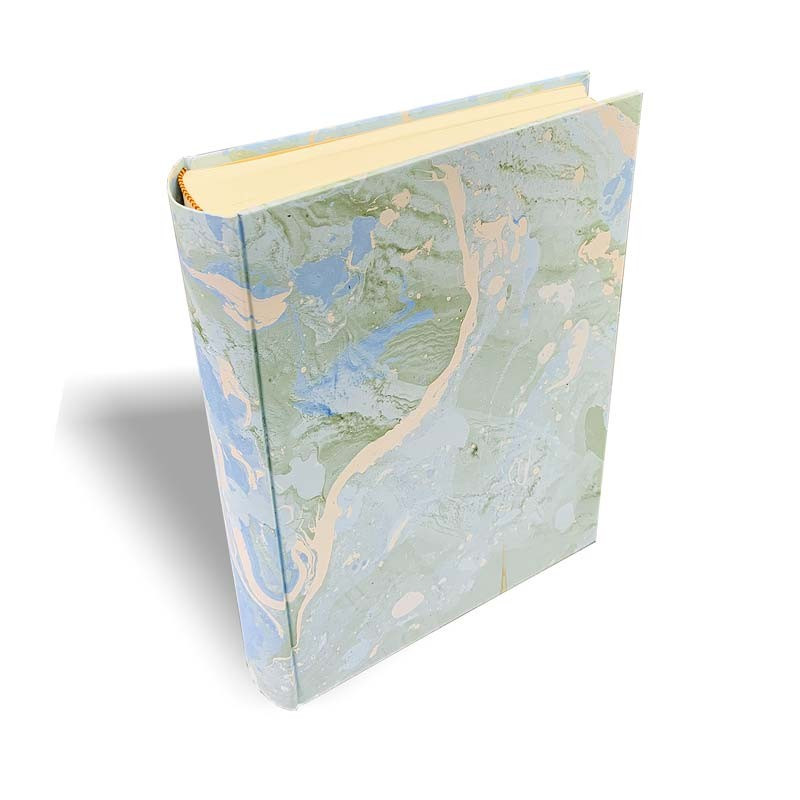 Photo album Arctic in marbled paper light blue, green, white and gray - Conti Borbone - standard - spine