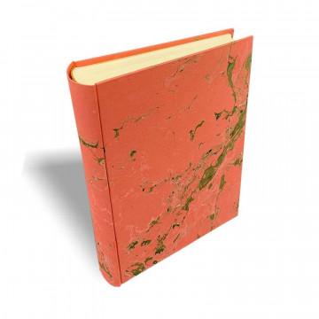 Photo album Mia in marbled paper pink, green, white - Conti Borbone - standard - spine
