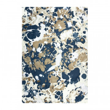 Handmade marbled paper in brown and blue colors Sonia - Conti Borbone - Milano Italy