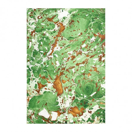 Handmade marbled paper in brown and green colors Veronica - Conti Borbone - Milano Italy