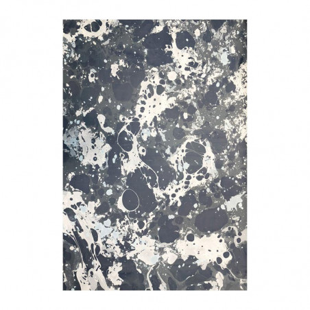 Carta marmorizzata realizzata a mano dai colori grigio e blu Susan - Conti Borbone - Milano Italy