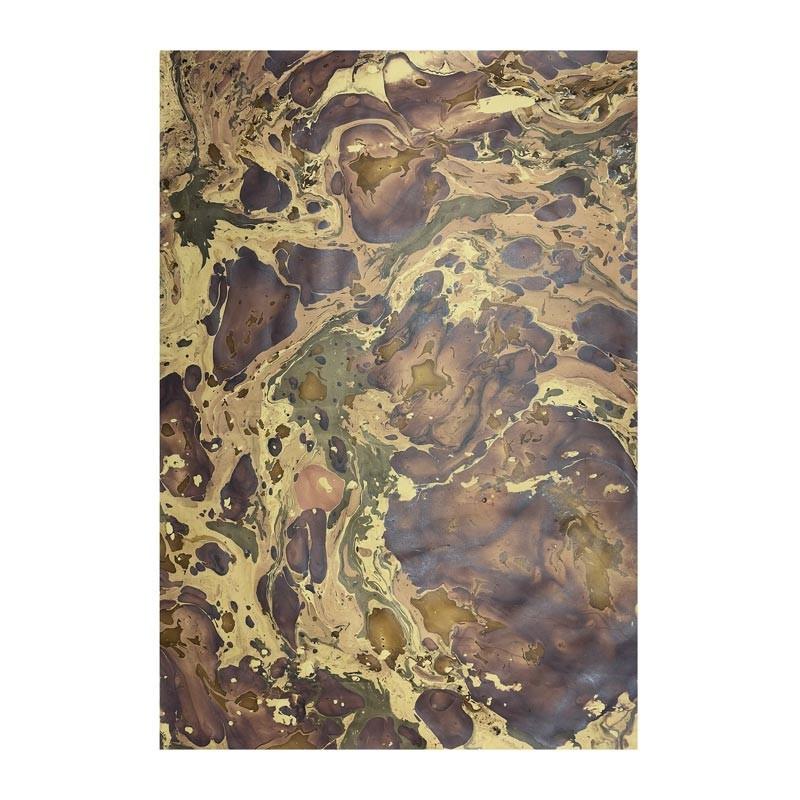 Carta marmorizzata realizzata a mano dai colori marrone Bruno - Conti Borbone - Milano Italy