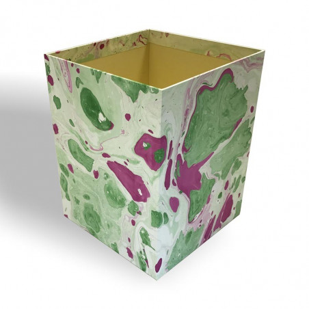Waste paper basket in hand-marbled paper Valentina - Conti Borbone - Milan Italy