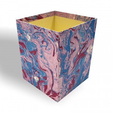 Waste paper basket in hand-marbled paper Aurora - Conti Borbone - Milan Italy