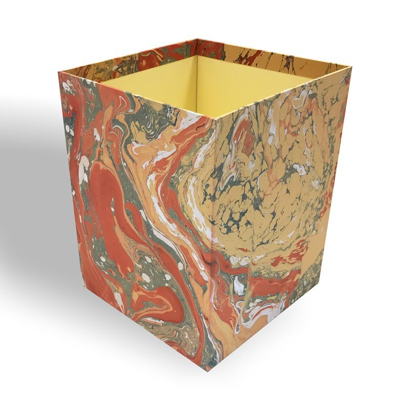 Waste paper basket in hand-marbled paper Carmen - Conti Borbone - Milan Italy