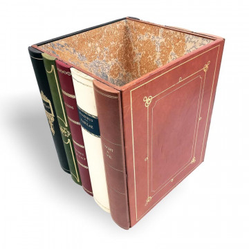 Leather waste paper basket bin with faux books - Conti Borbone - Milan Italy