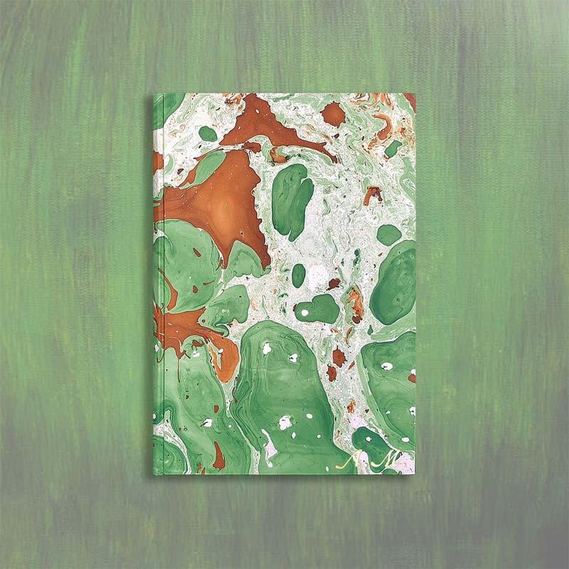 Marbled paper notebook brown, green, white Veronica - Conti Borbone - Italiac