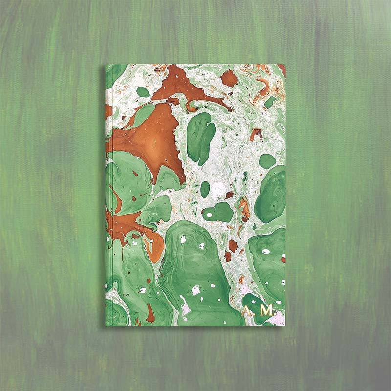 Marbled paper notebook brown, green, white Veronica - Conti Borbone - Block letters