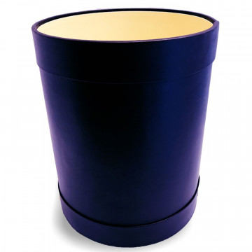 Prestigious blu leather round waste basket - Conti Borbone - Luxury leather round waste bin