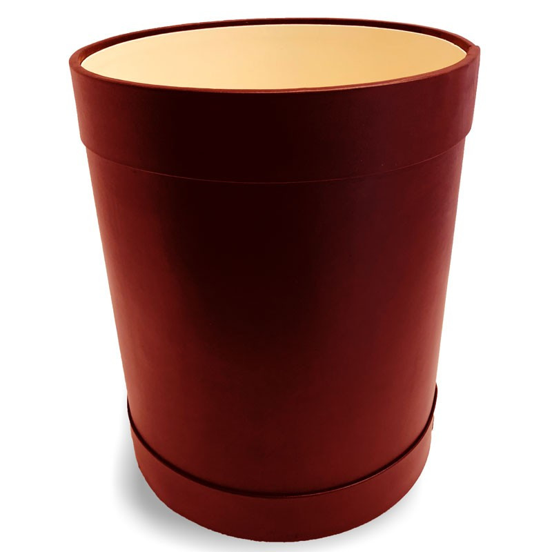Ruby leather round waste paper basket - Conti Borbone - Leather round waste paper bin