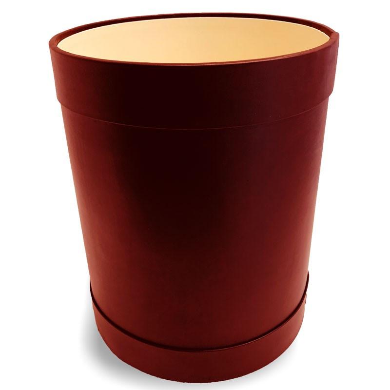 Cestino gettacarte tondo pelle Rubino - Conti Borbone - Cestino gettacarte di lusso