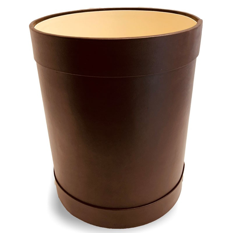 Brown leather round waste paper basket - Conti Borbone - Leather round waste paper bin