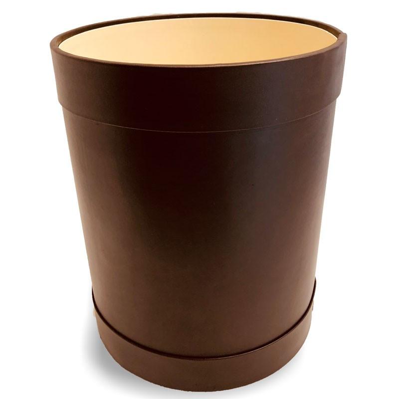 Cestino gettacarte tondo pelle marrone - Conti Borbone - Cestino gettacarte di lusso