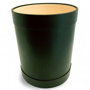 Pino leather round waste paper basket - Conti Borbone - Green leather round waste paper bin