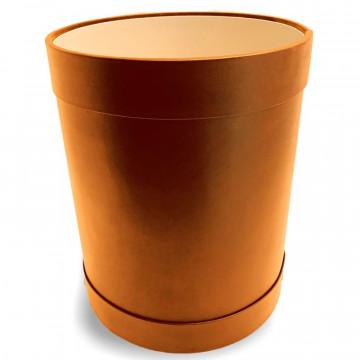 Cestino gettacarte tondo pelle arancione - Conti Borbone - Cestino gettacarte di lusso