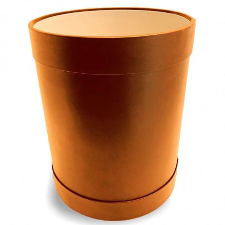 Orange leather round waste paper basket - Conti Borbone - Leather round waste paper bin
