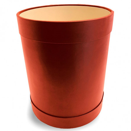 Coral leather round waste paper basket - Conti Borbone - Leather round waste paper bin