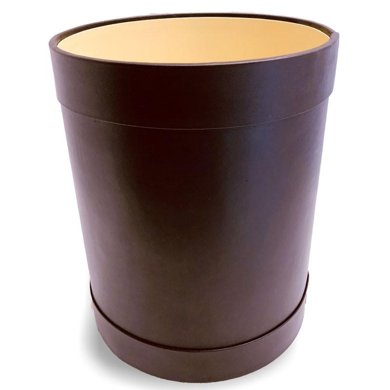 Cestino gettacarte tondo pelle viola - Conti Borbone - Cestino gettacarte di lusso