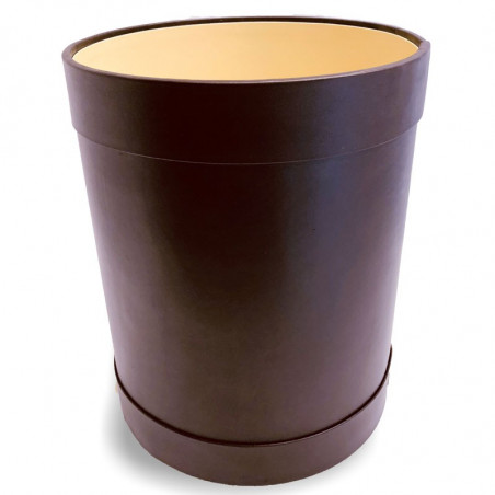 Purple leather round waste paper basket - Conti Borbone - Leather round waste paper bin