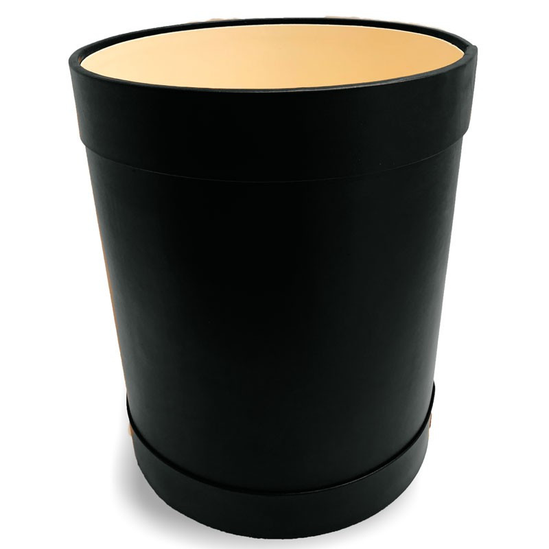 Black leather round waste paper basket - Conti Borbone - Leather round waste paper bin