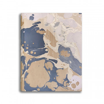 Photo album in marbled paper brown blue white Sonia - Conti Borbone - standard front