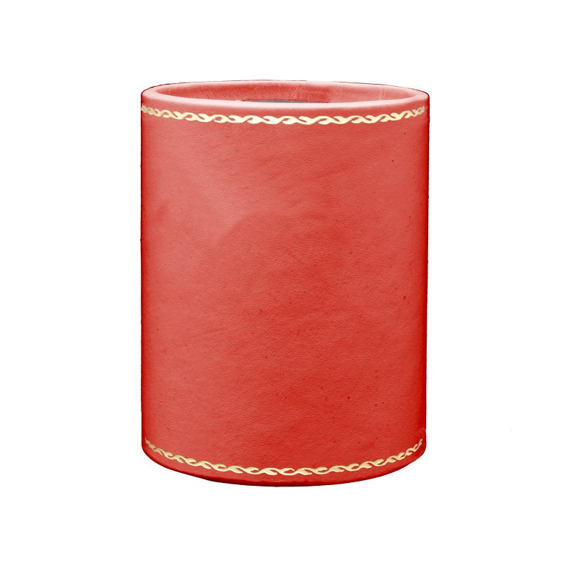 Coral leather pen holder - Conti Borbone - Pen holder in pink calf leather - decoration 90